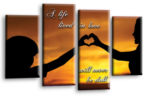Life Quote Wall Art Print Orange Black Love Picture Split Panel